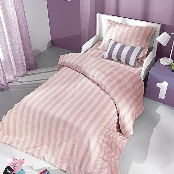 Saint Clair Σετ σεντονια 3 τεμαχιων pink stripes