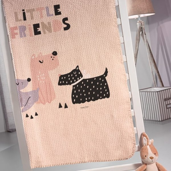 ΚΟΥΒΕΡΤΑ FLEECE MONH 160x220 SAINT DOGGY PINK