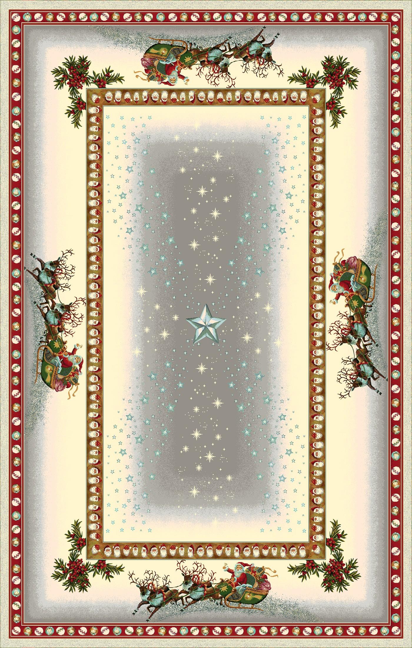 Χριστουγεννιάτικο Τραπεζομάντηλο 140x240 Cosmin Estrellas Gris Lurex