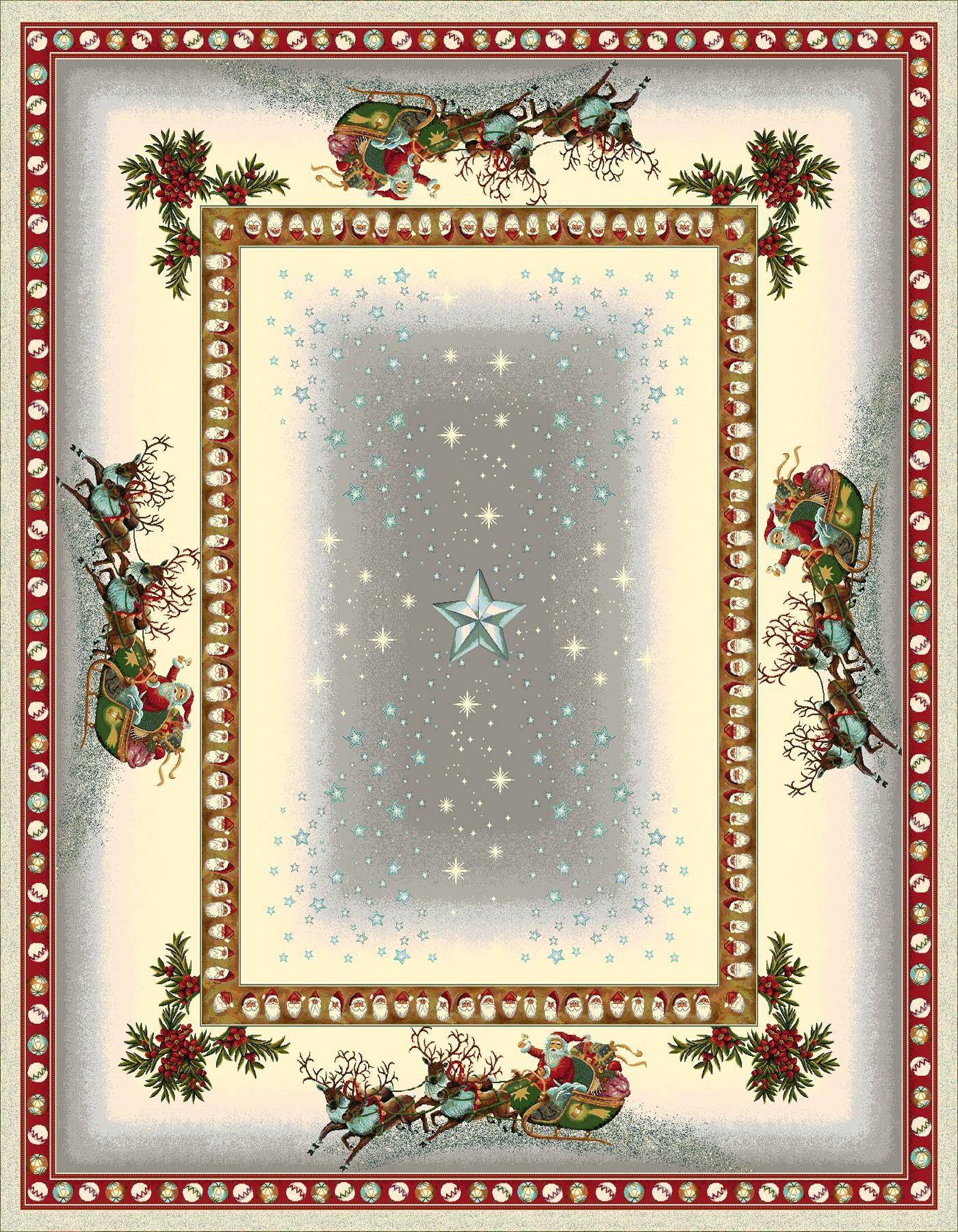 Χριστουγεννιάτικο Τραπεζομάντηλο 140x180 Vassiliadis Estrellas Gris Lurex