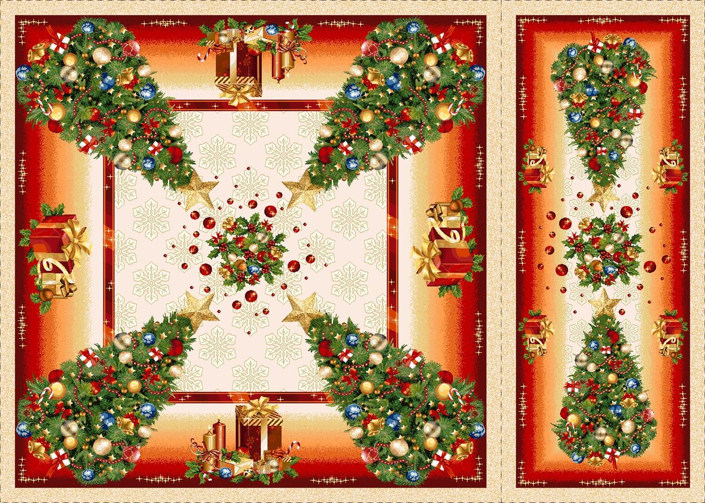 Χριστουγεννιάτικο Σετ 4τμχ Καρέ-Σεμέ Cosmin Glam Lurex