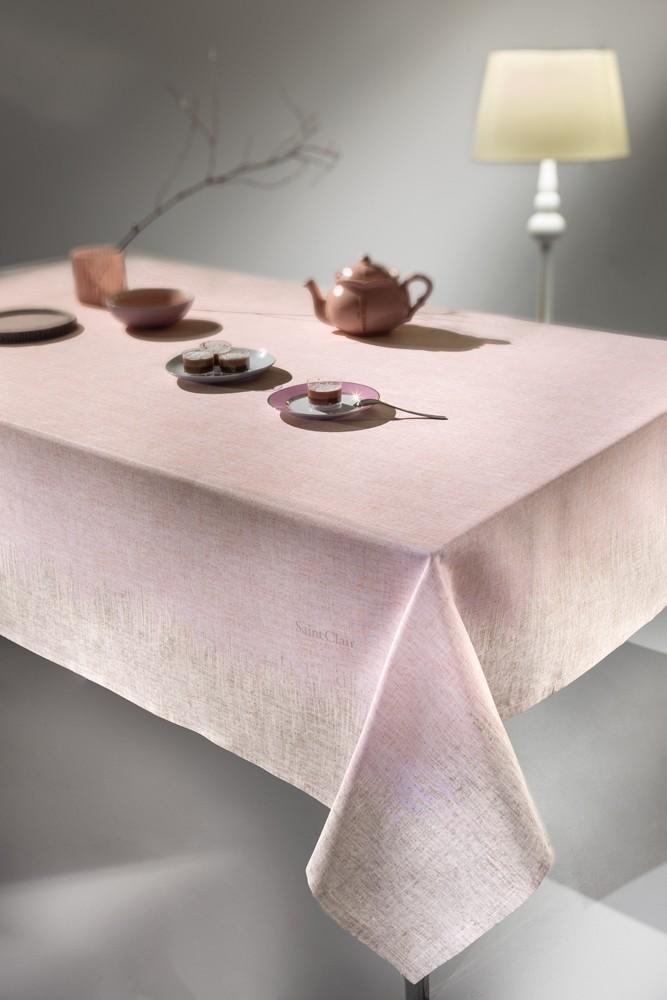Αλέκιαστο Τραπεζομάντηλο 145x145 Saint Clair 1021 Pink-Beige